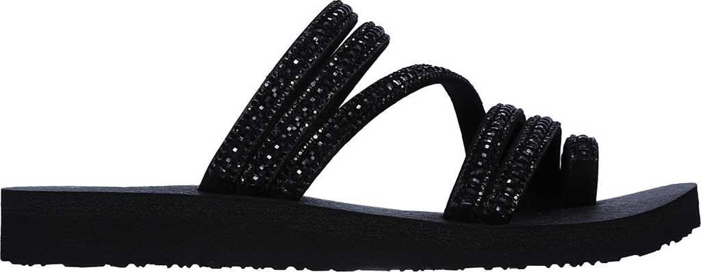 Women's Skechers Meditation Glam Flash Toe Loop Sandal, Black/Black, large, image 2