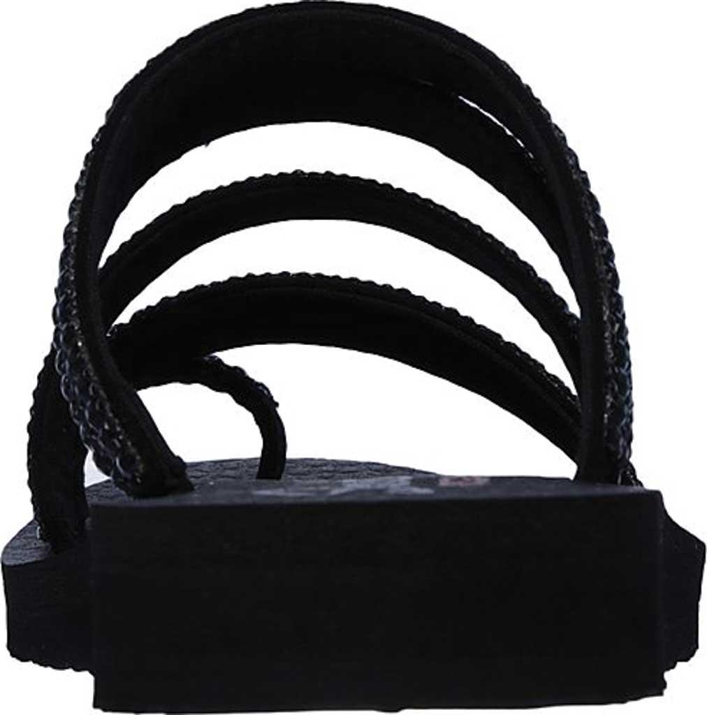 Women's Skechers Meditation Glam Flash Toe Loop Sandal, Black/Black, large, image 4