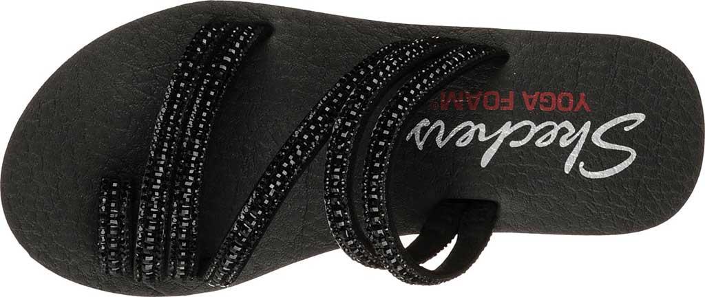 Women's Skechers Meditation Glam Flash Toe Loop Sandal, Black/Black, large, image 5