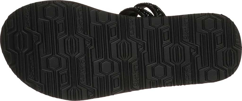 Women's Skechers Meditation Glam Flash Toe Loop Sandal, Black/Black, large, image 6