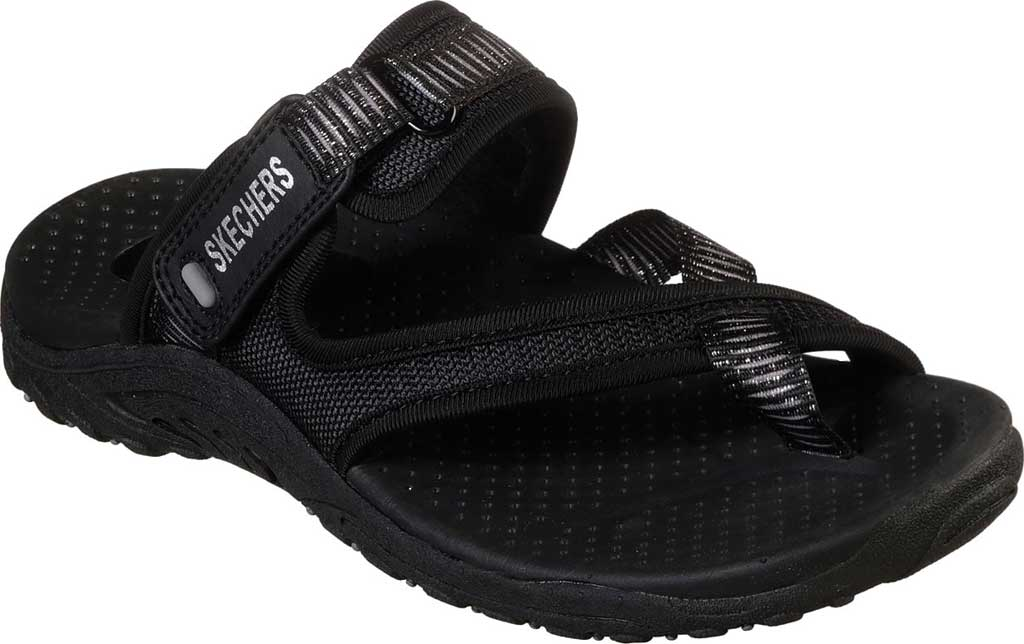 Women's Skechers Reggae Seize The Day Toe Loop Sandal, Black, large, image 1