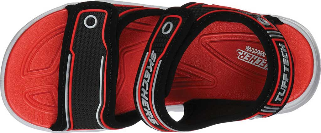 Boys' Skechers Hypno-Flash 3.0 Sport Sandal, Black/Red, large, image 4