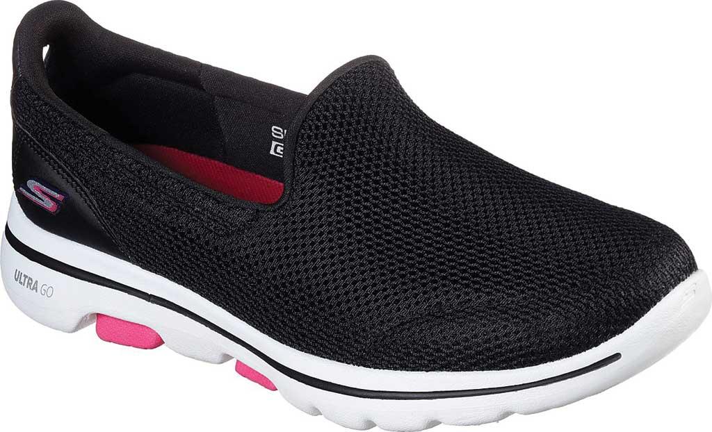 Women's Skechers GOwalk 5 Walking Shoe, Black/Hot Pink, large, image 1