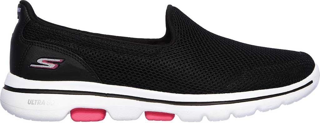 Women's Skechers GOwalk 5 Walking Shoe, Black/Hot Pink, large, image 2