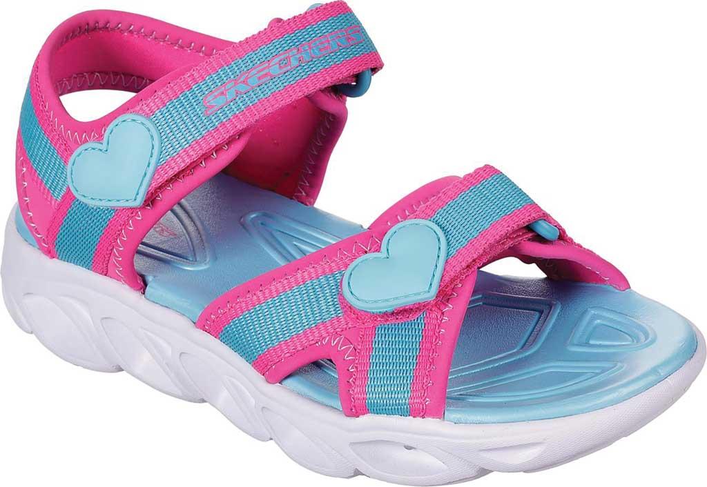 Girls' Skechers S Lights Hypno-Splash Splash Zooms Sport Sandal, Hot Pink/Turquoise, large, image 1