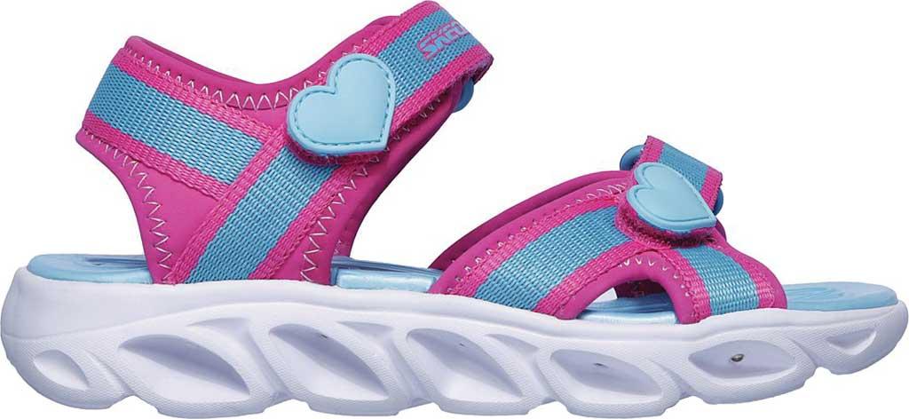 Girls' Skechers S Lights Hypno-Splash Splash Zooms Sport Sandal, Hot Pink/Turquoise, large, image 2
