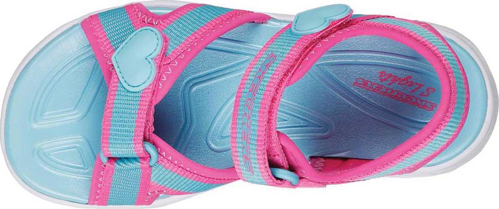 Girls' Skechers S Lights Hypno-Splash Splash Zooms Sport Sandal, Hot Pink/Turquoise, large, image 4
