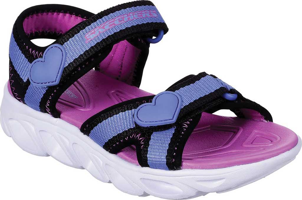 Girls' Skechers S Lights Hypno-Splash Splash Zooms Sport Sandal, Black/Blue, large, image 1