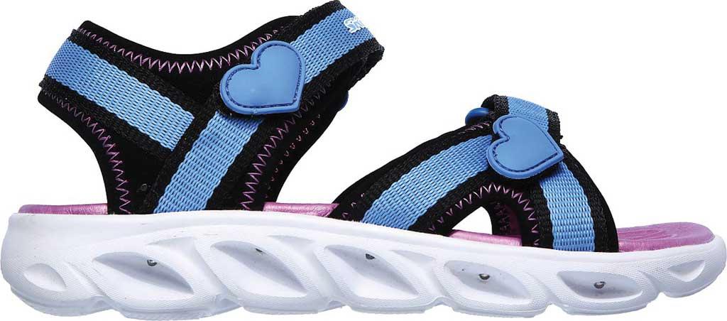 Girls' Skechers S Lights Hypno-Splash Splash Zooms Sport Sandal, Black/Blue, large, image 2