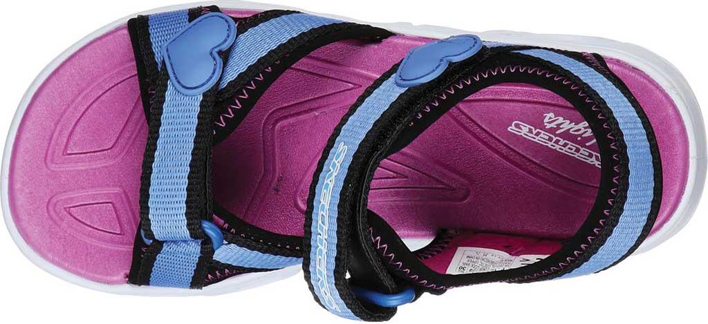Girls' Skechers S Lights Hypno-Splash Splash Zooms Sport Sandal, Black/Blue, large, image 4