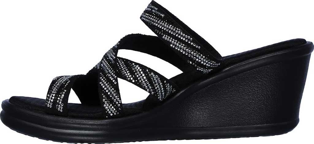 Women's Skechers Rumblers Mega Flash Slide Wedge Sandal, Black/Silver, large, image 3