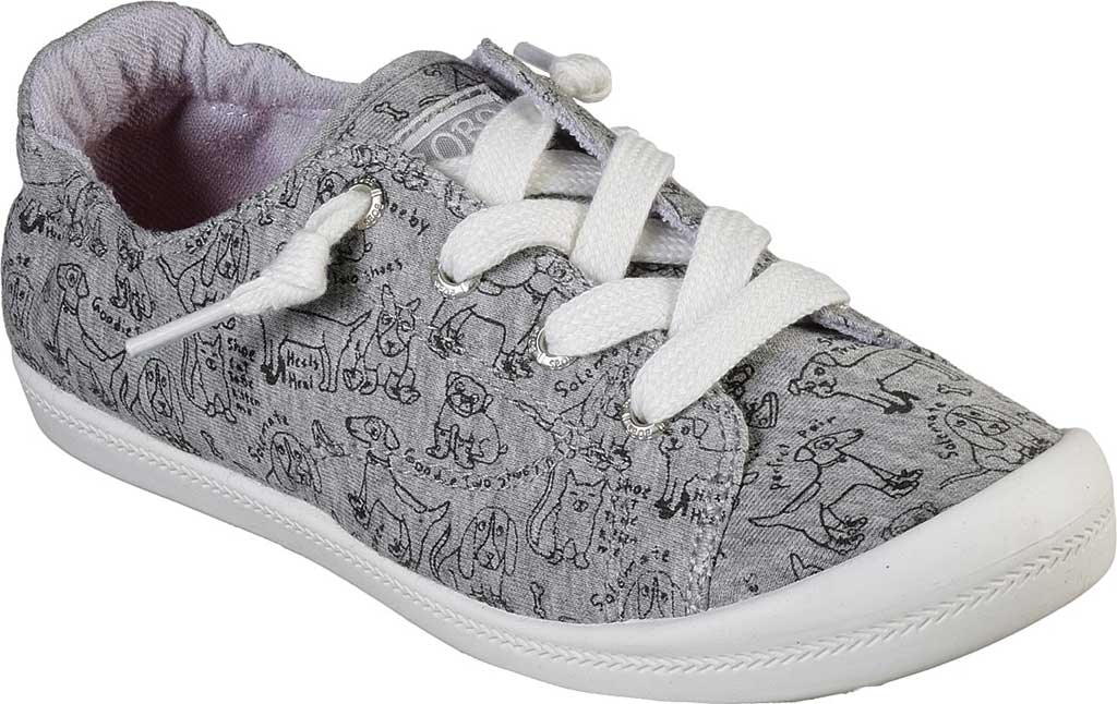 Women's Skechers BOBS Beach Bingo Love Pups Sneaker, Gray, large, image 1