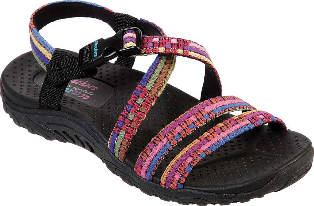 Women's Skechers Reggae Sew Me Active Sandal, Black/Multi, large, image 1