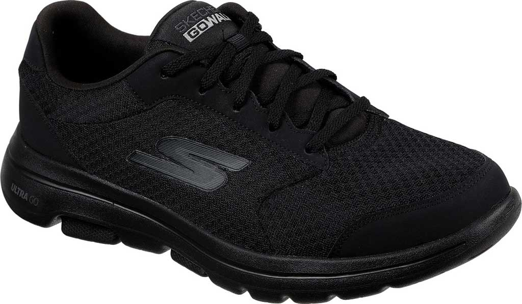 Men's Skechers GOwalk 5 Qualify Walking Sneaker, Black/Black, large, image 1