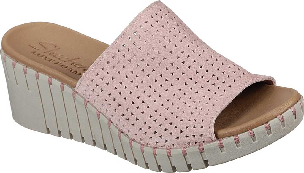 Women's Skechers Pier Ave Urban Escape Slide Wedge Sandal, Pink, large, image 1
