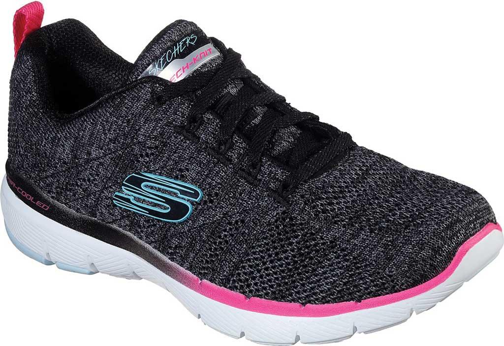 Women's Skechers Flex Appeal 3.0 Reinfall Training Sneaker, Black/Multi, large, image 1