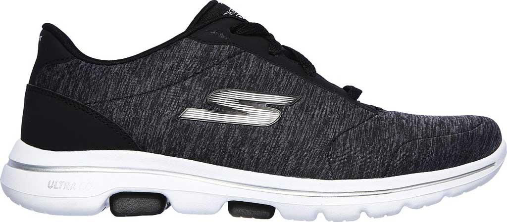 Women's Skechers GOwalk 5 True Sneaker, Black/White, large, image 2