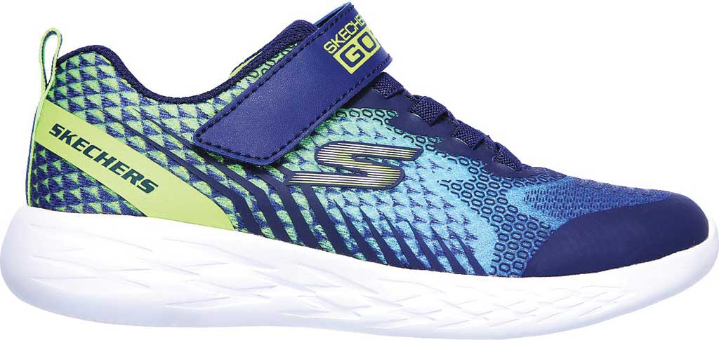 Boys' Skechers GOrun 600 Baxtux Sneaker, Navy/Lime, large, image 2