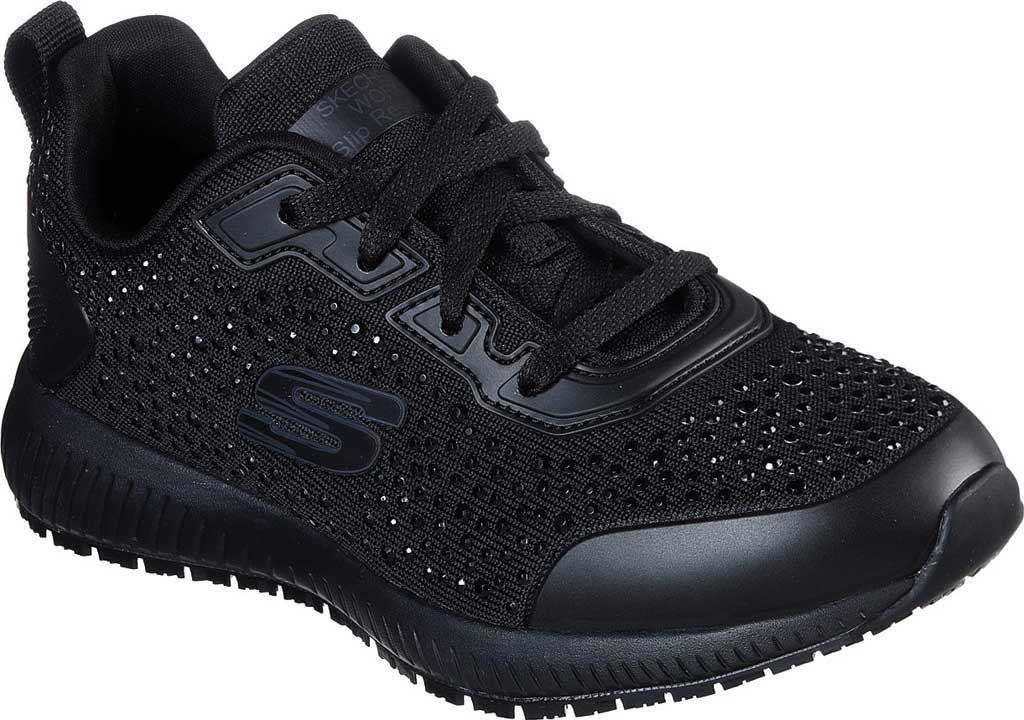 Women's Skechers Work Relaxed Fit Squad Prout SR Sneaker, Black, large, image 1