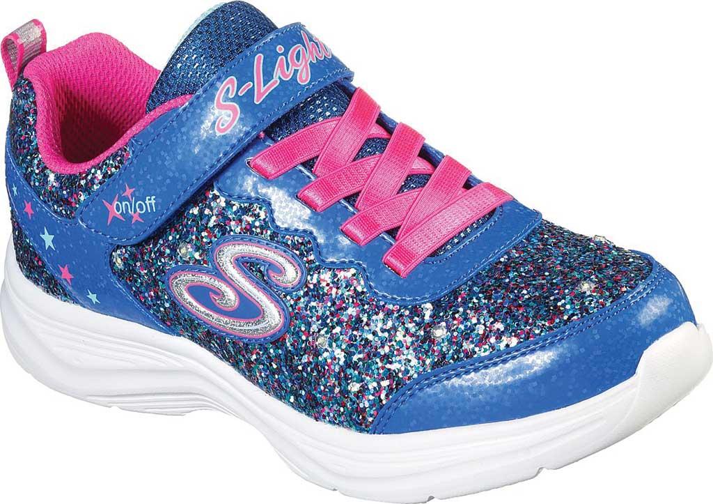 Girls' Skechers S Lights Glimmer Kicks Glitter N' Glow Sneaker, Blue/Neon Pink, large, image 1