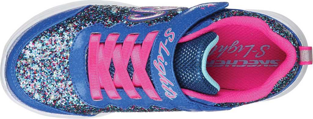 Girls' Skechers S Lights Glimmer Kicks Glitter N' Glow Sneaker, Blue/Neon Pink, large, image 4