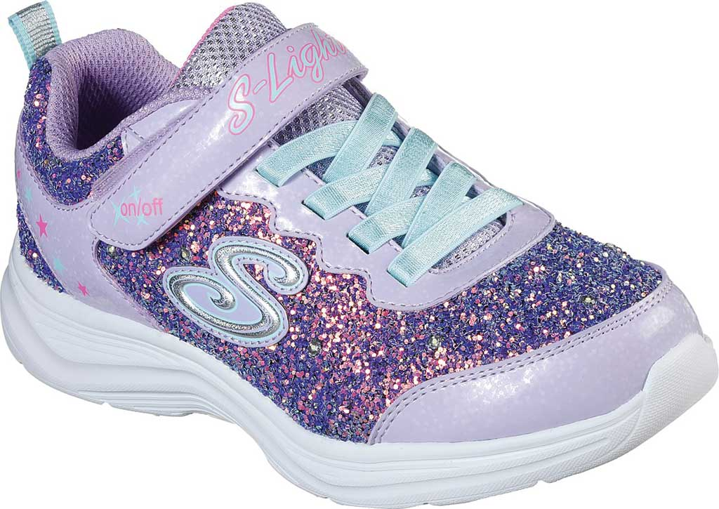 Girls' Skechers S Lights Glimmer Kicks Glitter N' Glow Sneaker, Lavender/Aqua, large, image 1