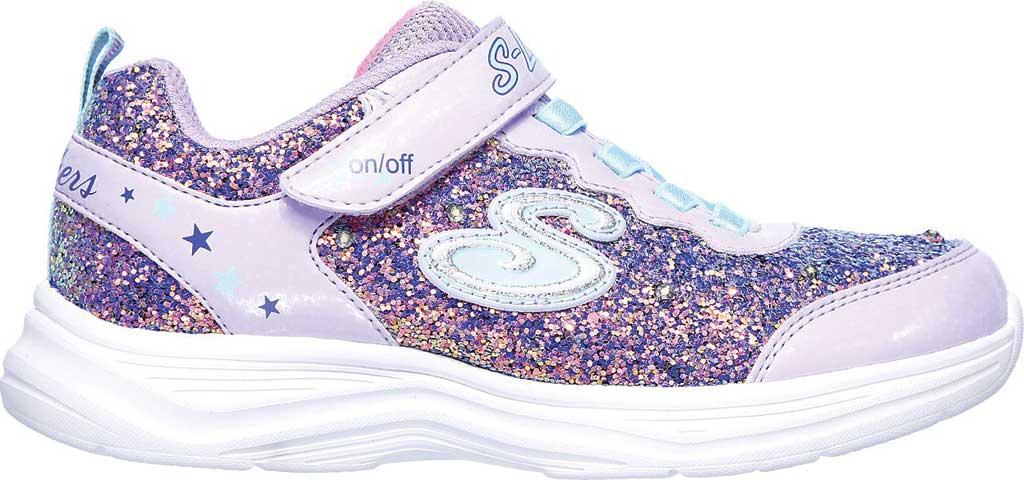 Girls' Skechers S Lights Glimmer Kicks Glitter N' Glow Sneaker, Lavender/Aqua, large, image 2