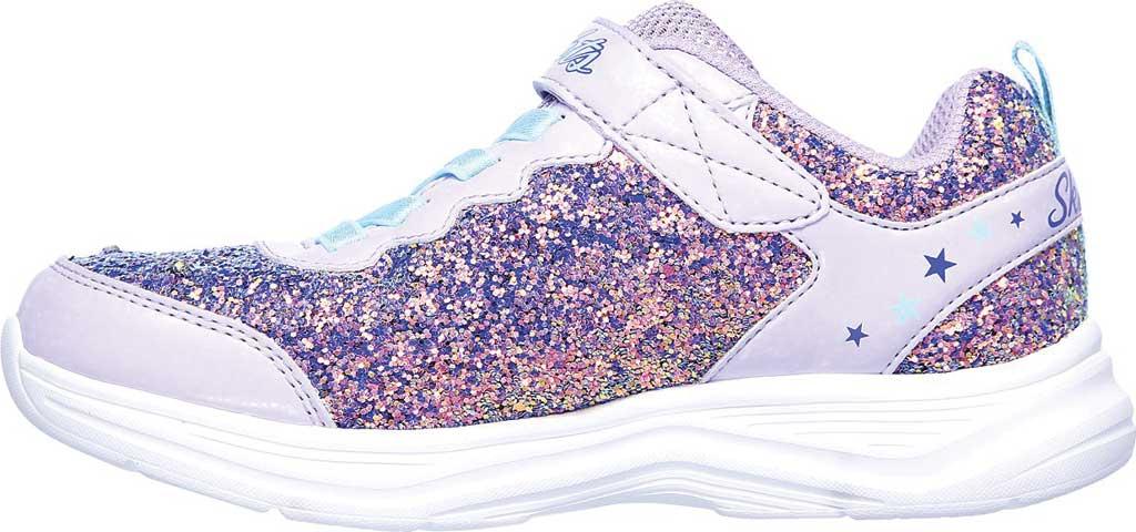 Girls' Skechers S Lights Glimmer Kicks Glitter N' Glow Sneaker, Lavender/Aqua, large, image 3