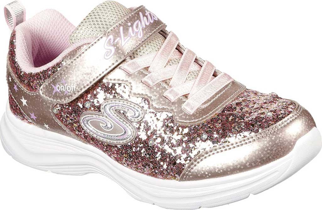 Girls' Skechers S Lights Glimmer Kicks Glitter N' Glow Sneaker, Gold/Pink, large, image 1