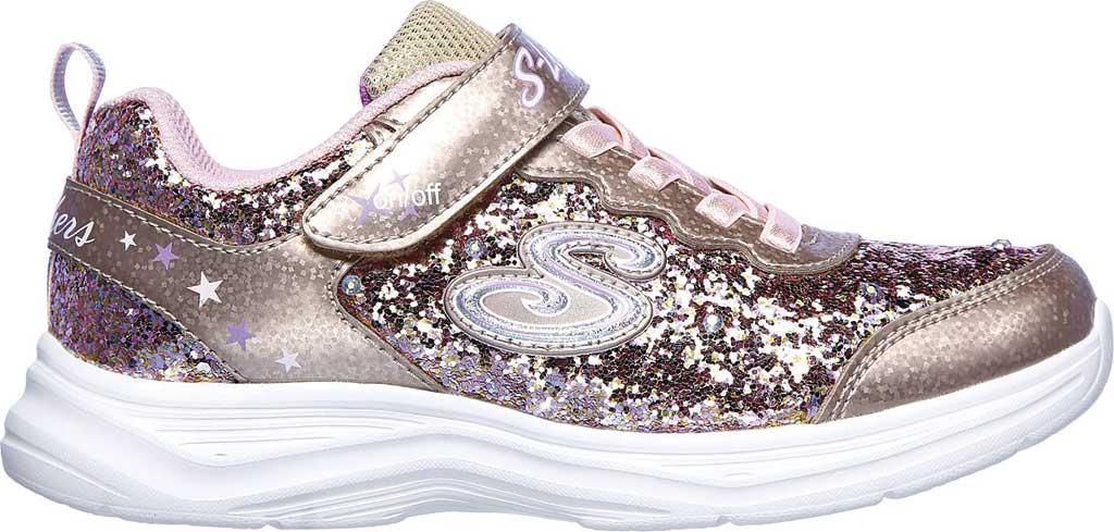 Girls' Skechers S Lights Glimmer Kicks Glitter N' Glow Sneaker, Gold/Pink, large, image 2