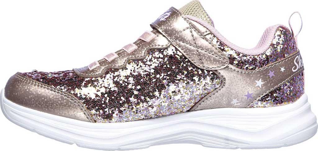 Girls' Skechers S Lights Glimmer Kicks Glitter N' Glow Sneaker, Gold/Pink, large, image 3