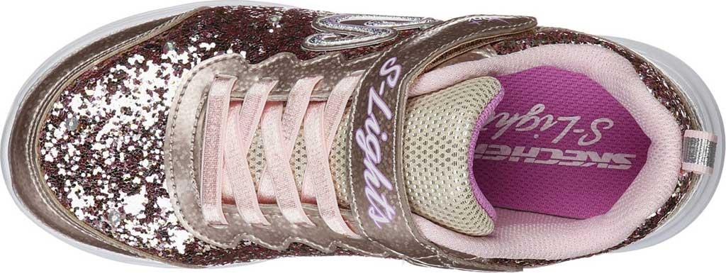 Girls' Skechers S Lights Glimmer Kicks Glitter N' Glow Sneaker, Gold/Pink, large, image 4