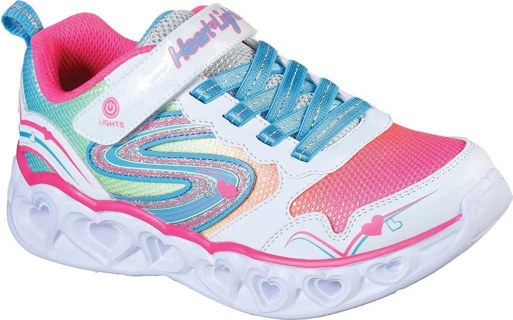 Girls' Skechers S Lights Heart Lights Love Spark Sneaker, White/Multi, large, image 1