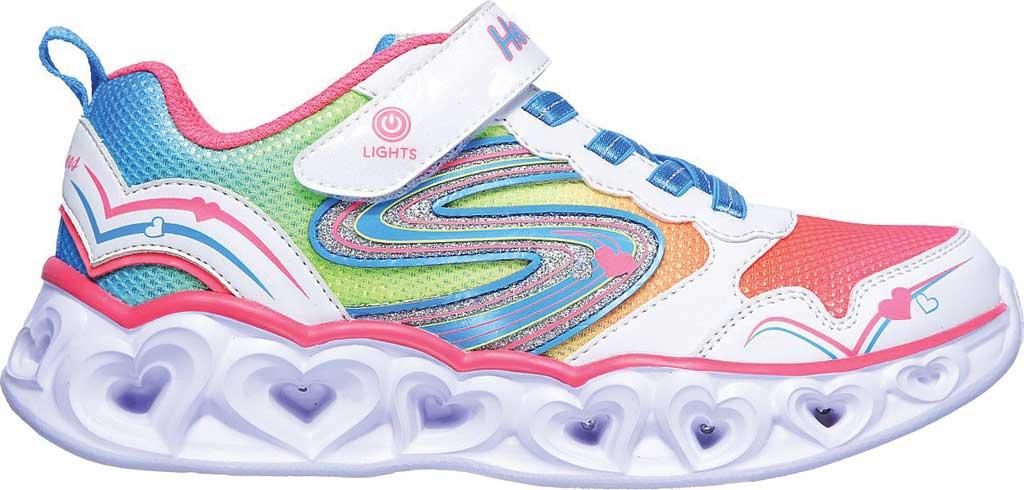 Girls' Skechers S Lights Heart Lights Love Spark Sneaker, White/Multi, large, image 2