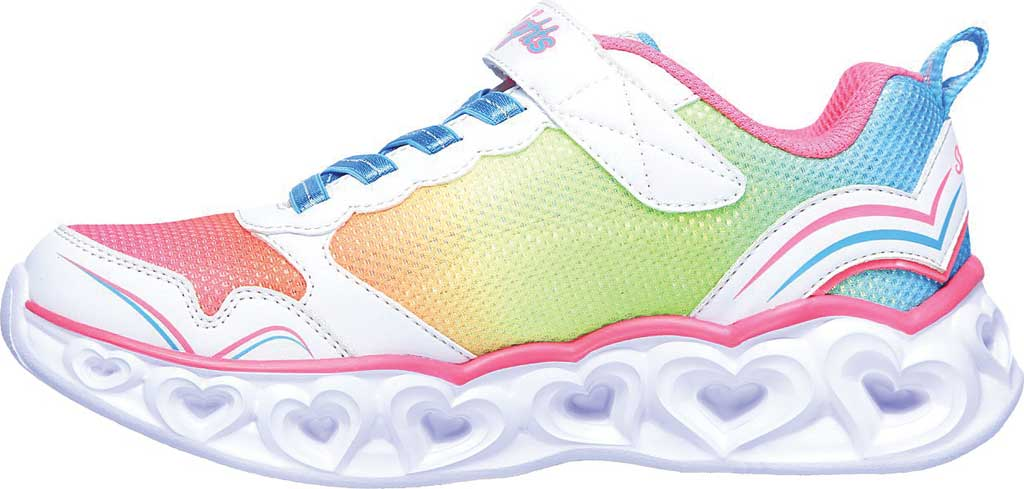 Girls' Skechers S Lights Heart Lights Love Spark Sneaker, White/Multi, large, image 3