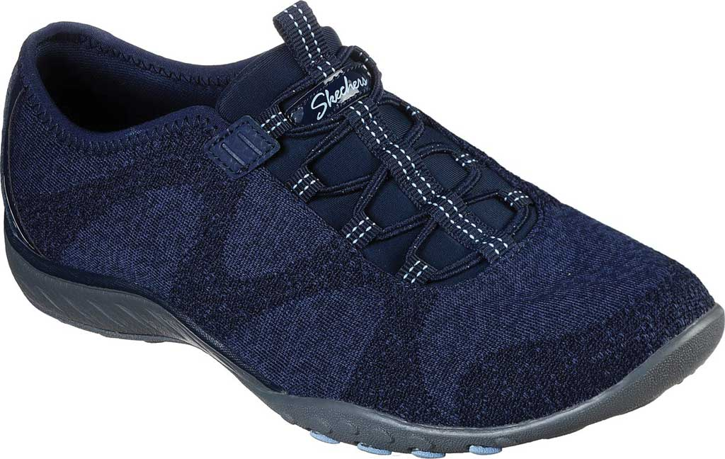 Women's Skechers Relaxed Fit Breathe-Easy Opportuknity Sneaker, Navy, large, image 1