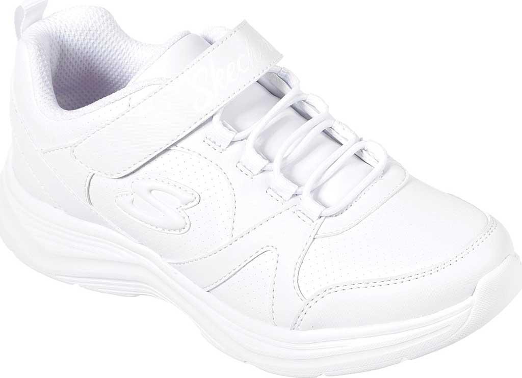 Girls' Skechers Glimmer Kicks School Struts Sneaker, White, large, image 1
