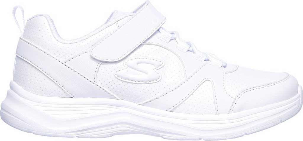 Girls' Skechers Glimmer Kicks School Struts Sneaker, White, large, image 2