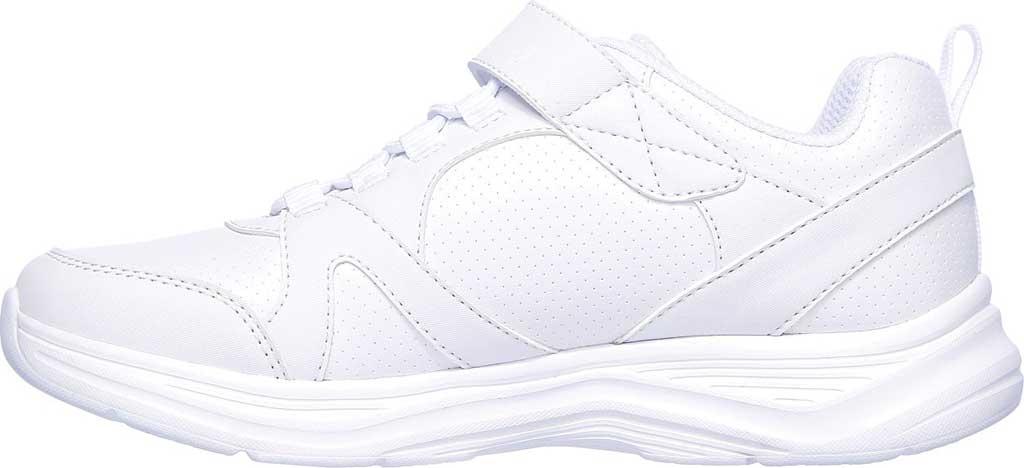 Girls' Skechers Glimmer Kicks School Struts Sneaker, White, large, image 3