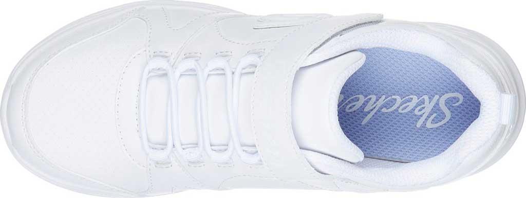 Girls' Skechers Glimmer Kicks School Struts Sneaker, White, large, image 4