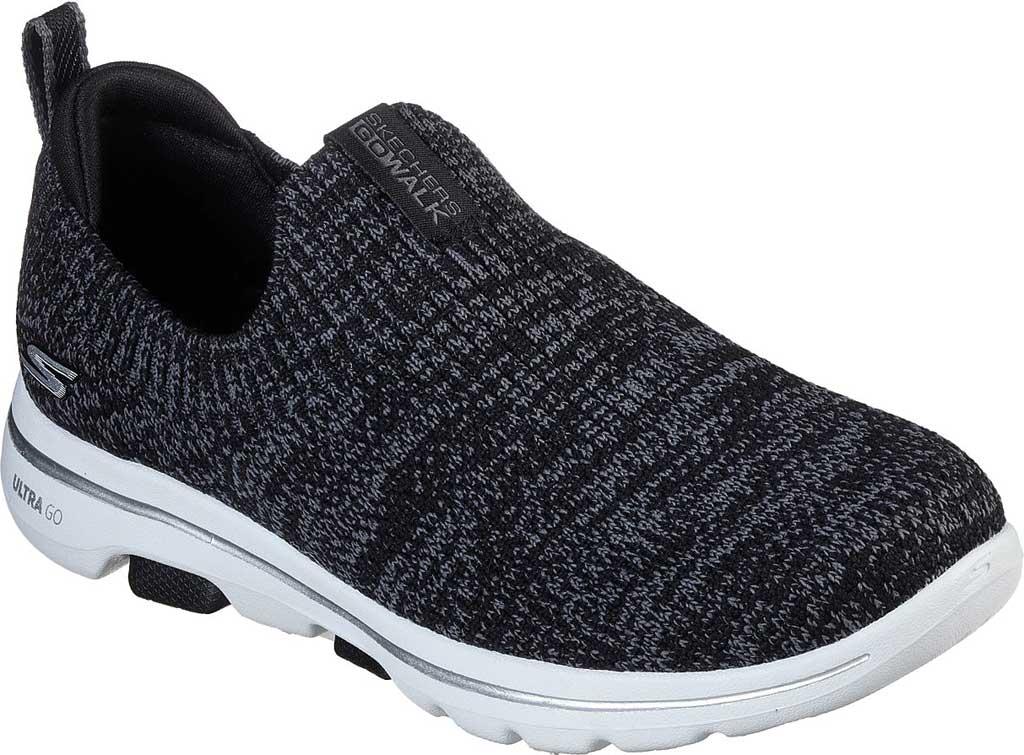 Women's Skechers GOwalk 5 Trendy Slip On Sneaker, Black/Gray, large, image 1