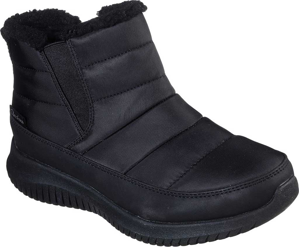 Women's Skechers Ultra Flex Shawty Ankle Boot, Black/Black, large, image 1