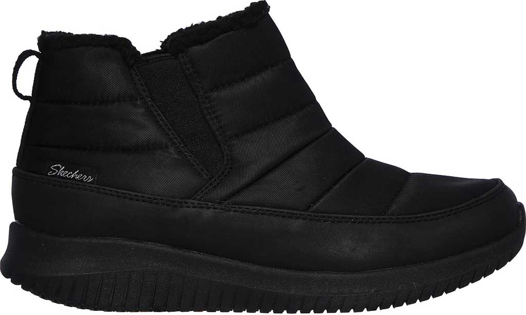 Women's Skechers Ultra Flex Shawty Ankle Boot, Black/Black, large, image 2