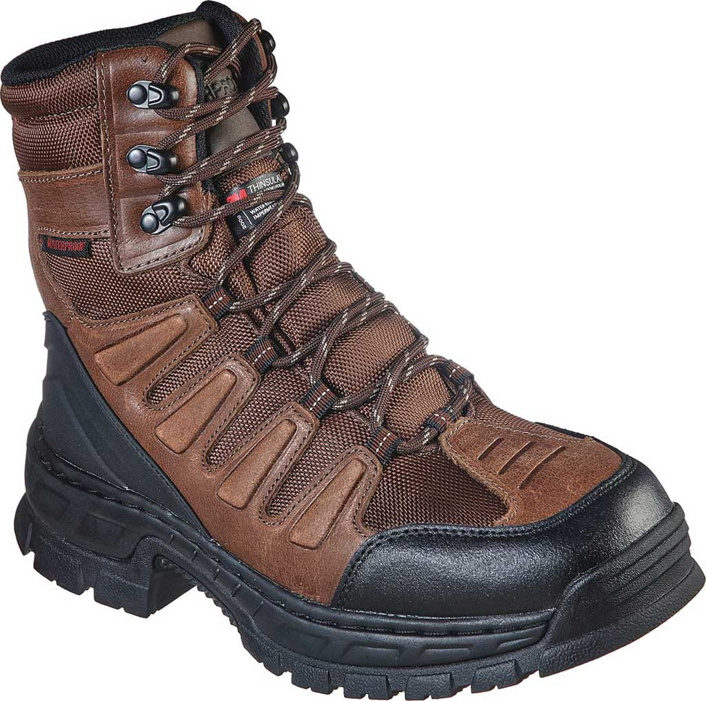 Men's Skechers Work Vinten Courtenay WP SR Boot, Brown, large, image 1