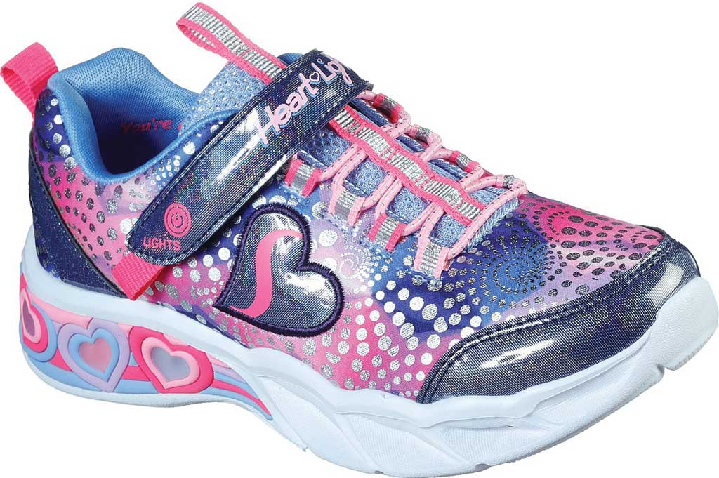 Girls' Skechers S Lights Sweetheart Lights Sneaker, Navy/Multi, large, image 1