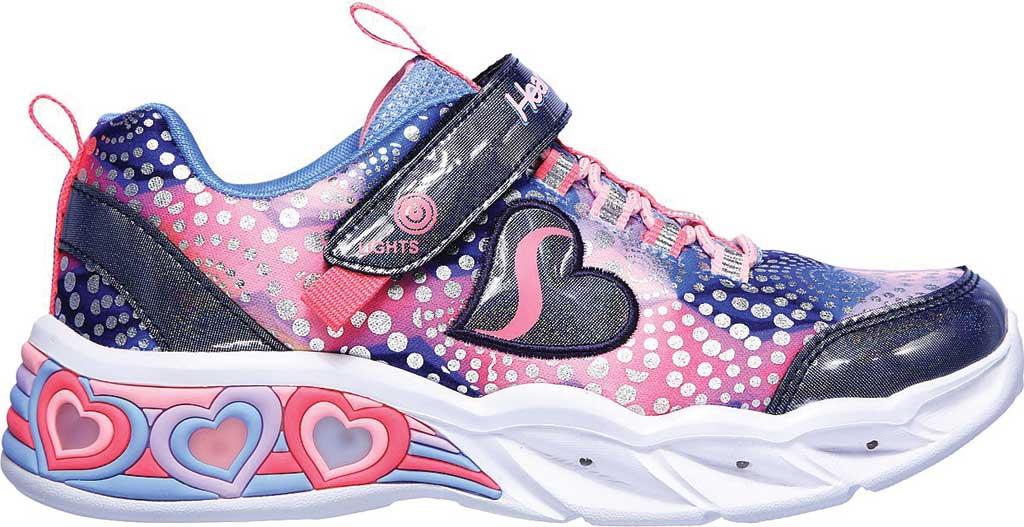 Girls' Skechers S Lights Sweetheart Lights Sneaker, Navy/Multi, large, image 2