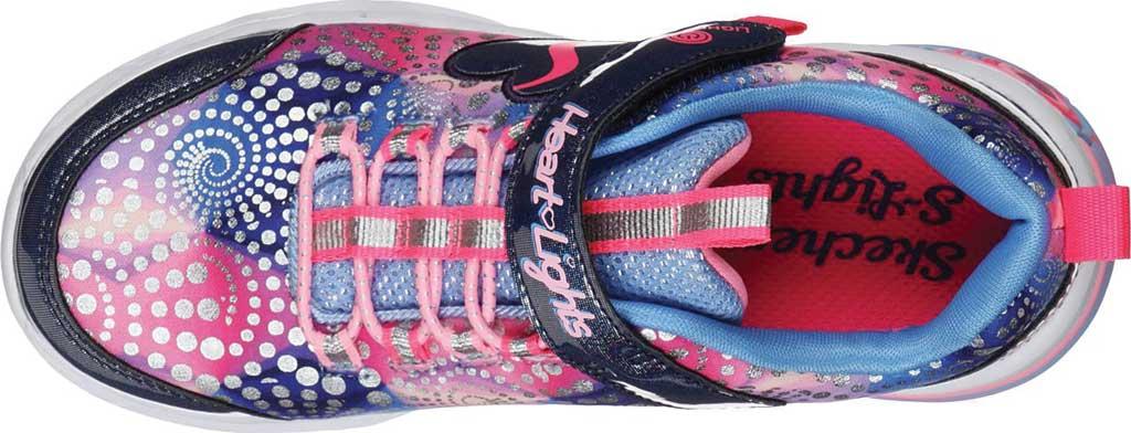 Girls' Skechers S Lights Sweetheart Lights Sneaker, Navy/Multi, large, image 4