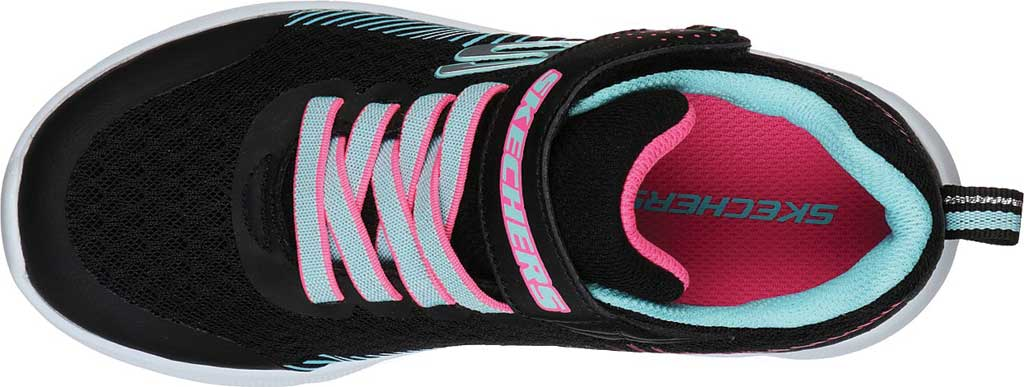 Girls' Skechers Microspec Sneaker, Black/Aqua, large, image 4