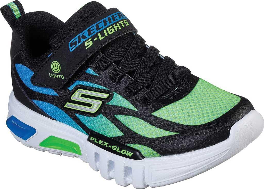 Boys' Skechers S Lights Flex-Glow Dezlo Sneaker, Black/Blue/Lime, large, image 1