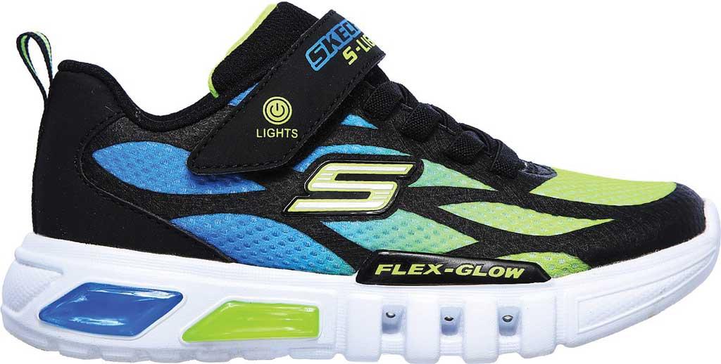 Boys' Skechers S Lights Flex-Glow Dezlo Sneaker, Black/Blue/Lime, large, image 2